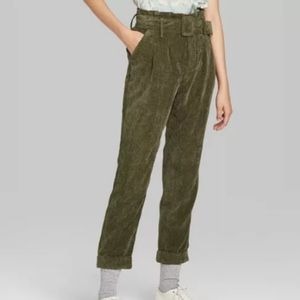 Green Corduroy Paperbag High Waist Pants